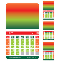 Calendar grid july august june vector