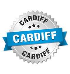 Cardiff round silver badge with blue ribbon vector