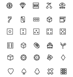 Casino line icons 1 vector