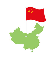 china map and flag chinese resource and land area vector image