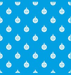 christmas ball pattern seamless blue vector image