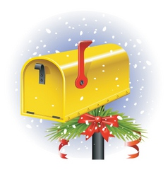 Christmas letter box vector image