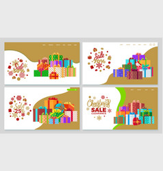 Christmas sale and discounts on presents website vector