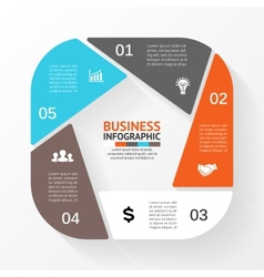 Circle pentagon infographic template for diagram vector