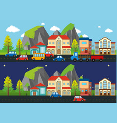 city scene at night and day time vector image