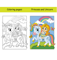 coloring and color unicorn drive a car vector image