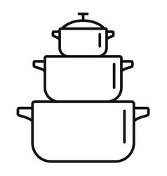 cooking pan icon outline style vector image
