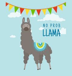 cool cartoon doodle alpaca lettering quote vector image