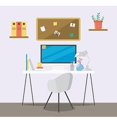 Creative flat workspace vector image