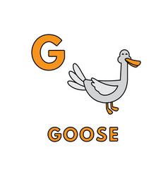 Cute cartoon animals alphabet goose vector