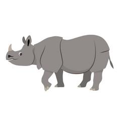 Cute wild animal gray walking rhinoceros icon vector