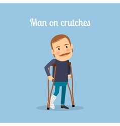 Disabled man on crutches vector image