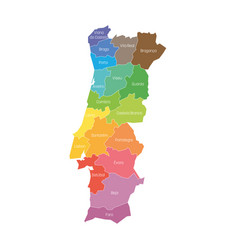 Districts portugal map regional country vector