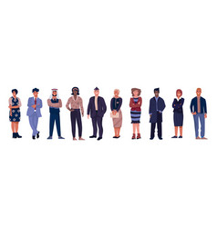 diverse business characters office workers with vector image