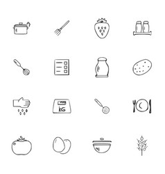 doodle kitchen icons set vector image