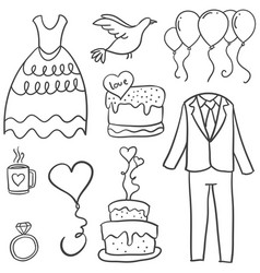 doodle of wedding element collection vector image