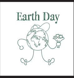 earth day cute greeting card sketch on white vector image