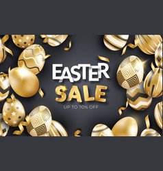 Easter sale black background with realistic golden vector