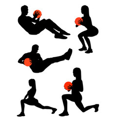 exercise gesture silhouette vector image