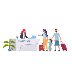 family at hotel reception check into hostel vector image