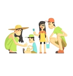 Family Of Four In Sandbox vector image