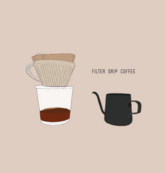 Filter drip coffee sketch vector
