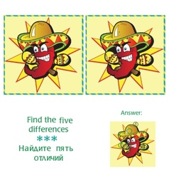 Find 5 differences - puzzle for kids vector image