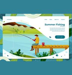 fisherman on wooden bridge vector image
