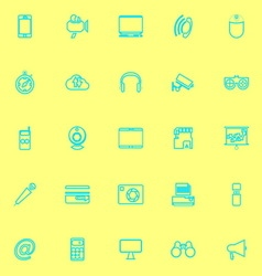 Gadget line icons blue color vector image