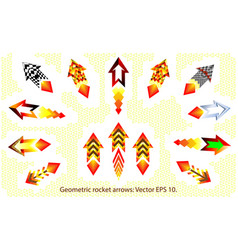 geometric rockets fire arrows set kit fire arrow vector image