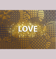 golden background love happy valentine day vector image