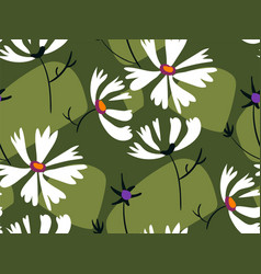 Green white flower seamless pattern floral design vector