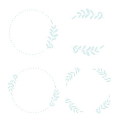 hand draw style minimal blue leaf wreath for logo vector image