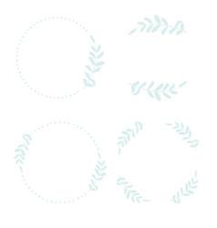 Hand draw style minimal blue leaf wreath for logo vector