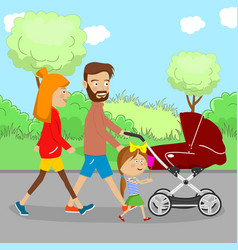 Happy family walking with a stroller in city park vector