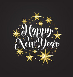 Happy new year golden decoration hand drawn vector