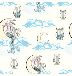 harp mermaid pattern merry christmas vector image