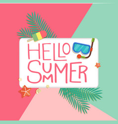 Hello summer ice cream snorkel starfish colorful b vector