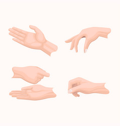 human palms holding gestures flat set vector image
