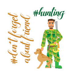 Hunter with dog going to hunting- flat clipart vector
