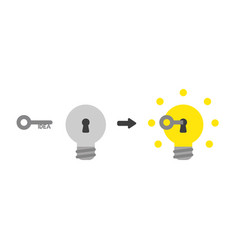 icon concept of idea key into light bulb keyhole vector image