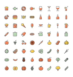 Icons thin blue food vector