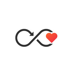 Infinity sign with heart and motion arrow modern vector