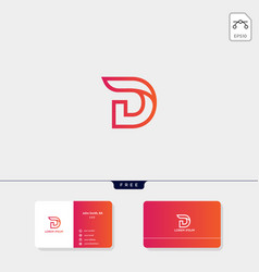 initial d logo template for technology business vector image