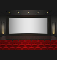 Interior of a cinema movie theatre Red cinema or vector image