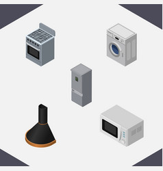 Isometric appliance set of laundry air extractor vector