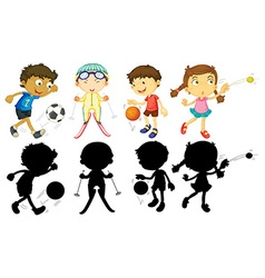 Kids doing different sports vector