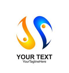 letter s logo design template colored blue orange vector image