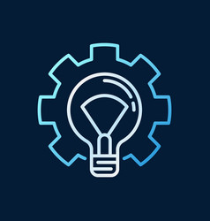 light bulb in cog colored linear icon vector image