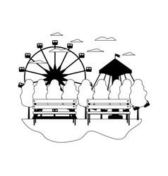 Line mechanical ride carnival games landscape vector